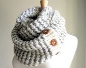 SALE Grey White Infinity Scarves Knit Neckwarmer Circle Scarf with Buttons Women Girls Accessories