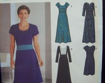 Princess Seam Dress Pattern Sleeve & Neckline Variety Two Lengths Simplicity Pattern 5758 Sizes 12-20 Uncut Pattern