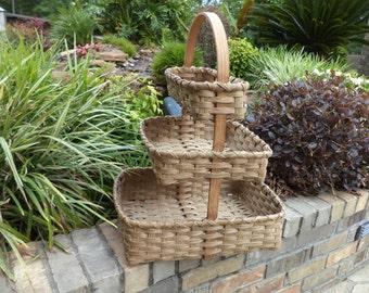 Triple Base Extra Large Crafter Basket Craft Storage Basket Quilters Basket Rug Hooker Basket Handwoven Basket