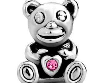 Teddy Bear with a Pink Crystal Spacer Bead for  European Style Charm Bracelet - Silver Plated