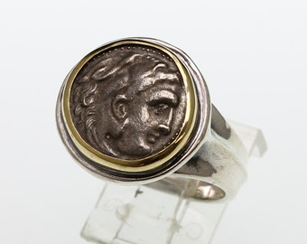 ancient coin ring, sterling silver and 18 karat gold men's ring with authentic silver greek ancient coin