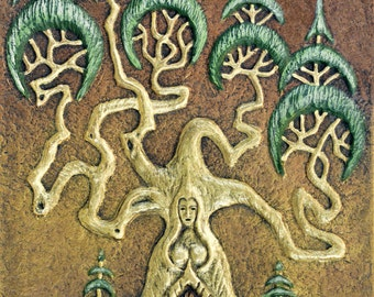 Dreaming Tree - Cast Paper - Eclectic - Fantasy - Mother Nature - Tree with door - Mystical