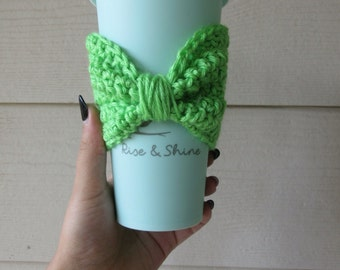 Crocheted Bow Coffee Sleeve / Tea Sleeve
