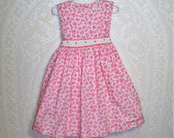Size 4T - Little Girls' Dress - by Jillian's Closet -Pink - Floral - Smocking - 100% cotton