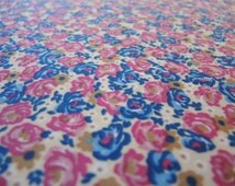 vintage 1970s silky stretch knit fabric pink and blue floral 64 inches wide BTY