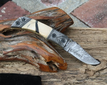 SALE! Damascus Pocket Knife with Fossil Handle, Handmade with Custom File Work, FREE Priority Shipping