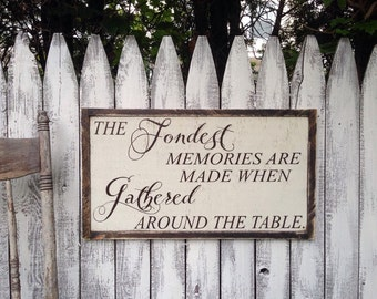 The Fondest Memories are Made When Gathered Around The Table Rustic Distressed Farmhouse Style Framed Wood Sign 13.5x24