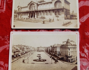 Rare Pair of Antique French Sepia Cardboard Photographs of Bordeaux-Original Photographic Studio details to Reverse