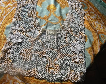 Stunning Antique French Handcrafted Lace Collar / Dress Yoke-Unique Floral Appliqued Piece