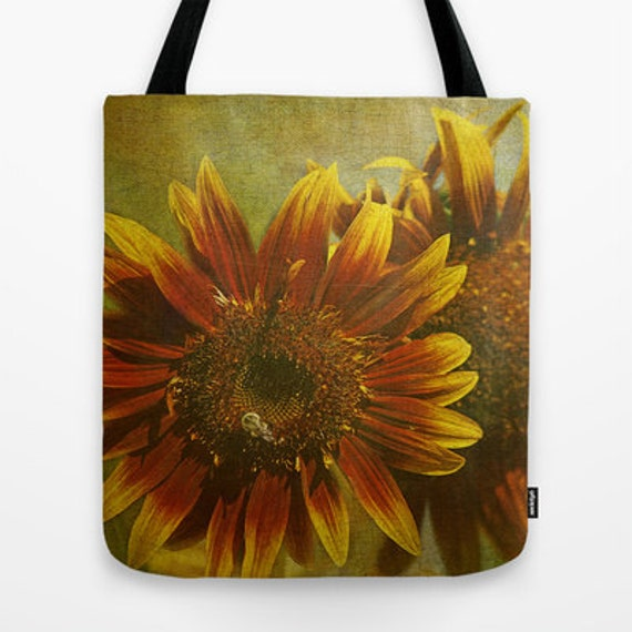 Sunflower Trio Photo Tote Bag, Photo, Tote Bag, Photography, Flower, Floral, Teacher Gift, Travel Bag, School Bag, Everyday Bag, Gift Ideas