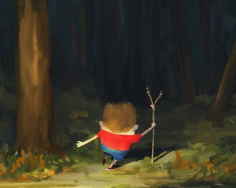 Adventure- a young boy exploring the woods Print of my original illustration