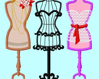 3 Mannequin Applique Embroidery Design Pattern  INSTANT DOWNLOAD