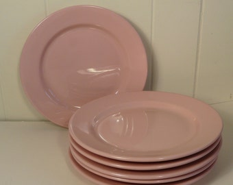 Vintage Restaurant ware dinner plates, Shell Pink, Sterling China, set of six,
