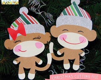 Christmas Cuttable Files -For Use with Cutting Machines - svg, mtc, jpg, gsp, and dxf files - Christmas Sock Monkeys SVG