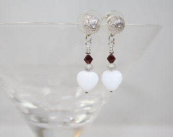 White Heart Dangle Earrings Valentines Day Earrings White Heart Wedding Earrings Bridesmaid Earrings Sweet Heart Earrings