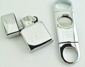 Cigar Cutter And Zippo Lighter Sets Engraved for Free Monogrammed