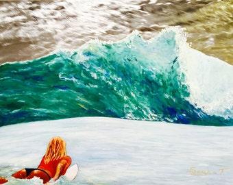 Surfing #women #surfer #surfing #waves #ocean #surfboard #metal art #Original wall decor #metal #art #painting #oil painting #blue #green
