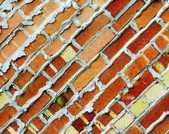 Colored Bricks Park City, Aluminum Print, yellow and red photo art print on aluminum