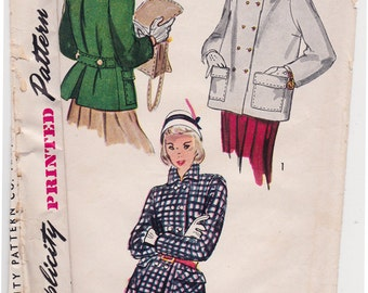 RARE 1940s Girl's Coat and Topper Vintage Sewing Pattern - Simplicity 3101 - Teen Age Jacket, size 10, Bust 28, Complete