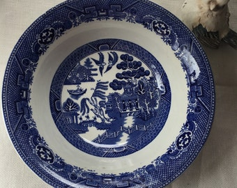 Blue English Transferware Bowl Blue Willow By Adams Staffordshire England Large Serving Bowl