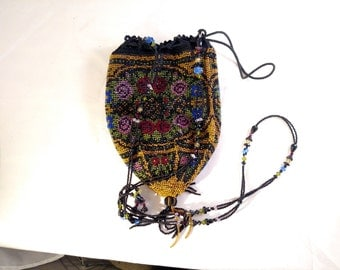 Beautifully Beaded Reticule Purse, with Lining and extra Beaded Strap