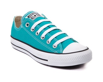 Turquoise Blue Aqua Converse Low Top Mens Women Wedding Glass Slipper w/Swarovski Crystal Rhinestone Teal Chuck Taylor All Star Sneaker Shoe