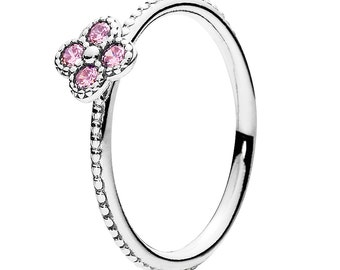 925 Sterling Silver Oriental Blossom Ring with Pink Zirconia QJCB945