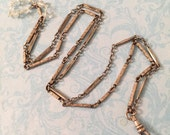 Silver Watch Chain Necklace for Antique Locket or Pendant, Ornate Links and Aquamarines, Antique Style, Gift for Her