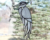 White Egret Stained Glass Bird Large Suncatcher Panel Heron, Glass Art