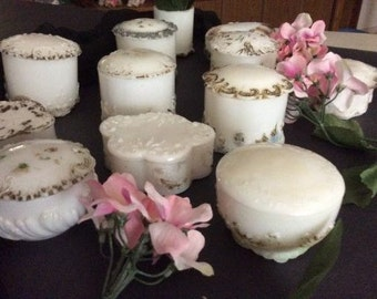 Vintage Milk Glass - Collection of 12 Pieces w associated/ Lids