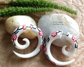 "Fake Gauge, Earrings, ""Dublin Daisy"" Hand Carved, Bone, Inlaid, Natural, Tribal"