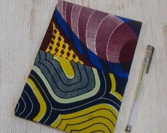 Hardback A5 sketchbook Unique cartridge paper covered with African print 20 plain unlined sheets 40 pages 140 gsm - patchwork design