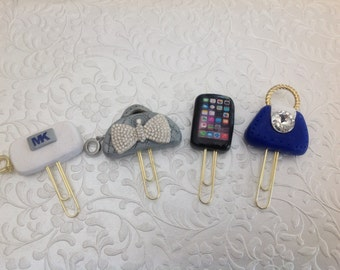 paper clips with polymer clay charms,