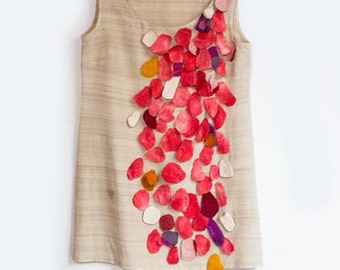 silk dress with red applications