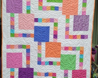 Bright, Colorful, Geometric Handmade Baby Quilt