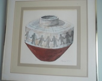 Native Contemporary Pot C   Mixed Media Watercolor & Acrylic by Signed Artist
