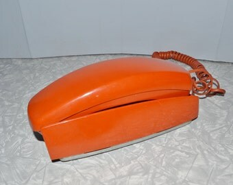 Trimline Orange Rotary Phone ~ Western Electric Telephone ~ Epsteam