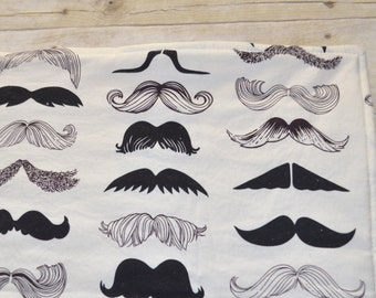 Wheres my Stache Baby Blanket with Off White Flannel Quilted Backing