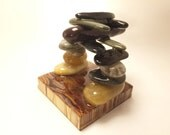 Sea stone rock stack business card holder