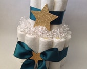 Twinkle Twinkle Little Star Diaper Cake, Teal and Gold Diaper Cake, Baby Shower Centerpiece, New Baby Gift, Decorations, Neutral Baby Shower