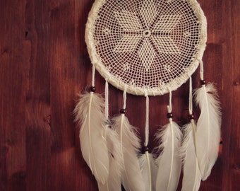 Dream Catcher - Magical Star - Unique Dream Catcher with White Handmade Crochet Web and White Feathers