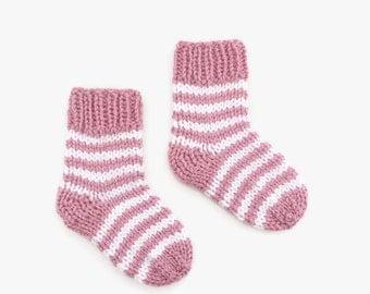 knitted baby socks | white pink baby socks | stripy baby socks | newborn socks | gender reveal