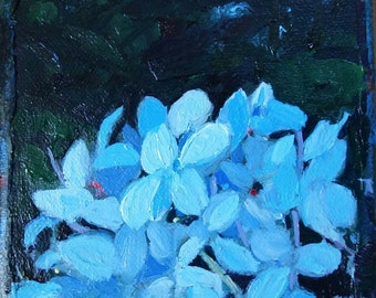 "Blue Hydrangea , 4""x4"" Small, ORIGINAL, expressive oil painting by Maine artist Adrienne Kernan LaVallee, impasto"