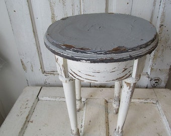 Distressed wooden stool shabby cottage chic blue gray w/ white weathered small table vintage French farmhouse home decor anita spero design
