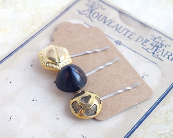 Gold Black Hair Pins - set of 3 - Upcycled button bobby pins - Vintage hairstyle