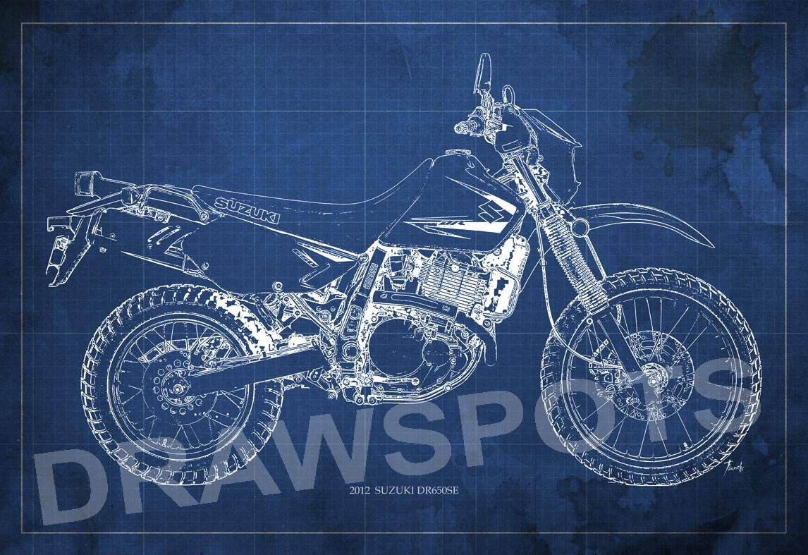 Suzuki Dr650se 2012 Blueprint Art Print 8x12in And Larger
