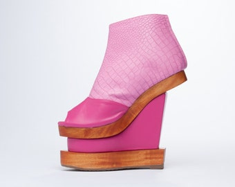 Pink Platform Boots Wooden Wedge / 70s Platform Shoes Ankle Boots Platform Wedges Pastel Goth Pink Boots Vegan Boots Faux Leather Boots