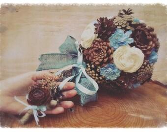 Alternative Bridal Bouquet - Pine Cone Bouquet - Light Blue Wedding Bouquet - Something Blue - Rustic Wedding Bouquet