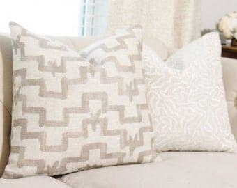 Zak & Fox Tulu Pillow in Khaki - Designer Linen Pillow - Gray Geometric Throw Pillow Cover - Modern Grey Pillow - Greige - Neutral Pillow