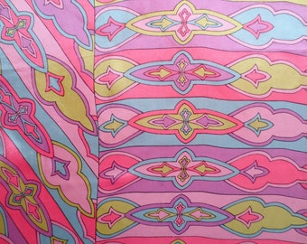 """Vintage Psychedelic Silk Scarf in Pinks, Purples, Greens, 28.5"""" by 28.5"""", Circa 1960-1970s"""
